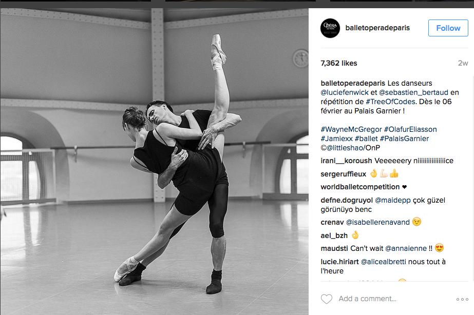 Instagram image of paris city ballet at rehersal
