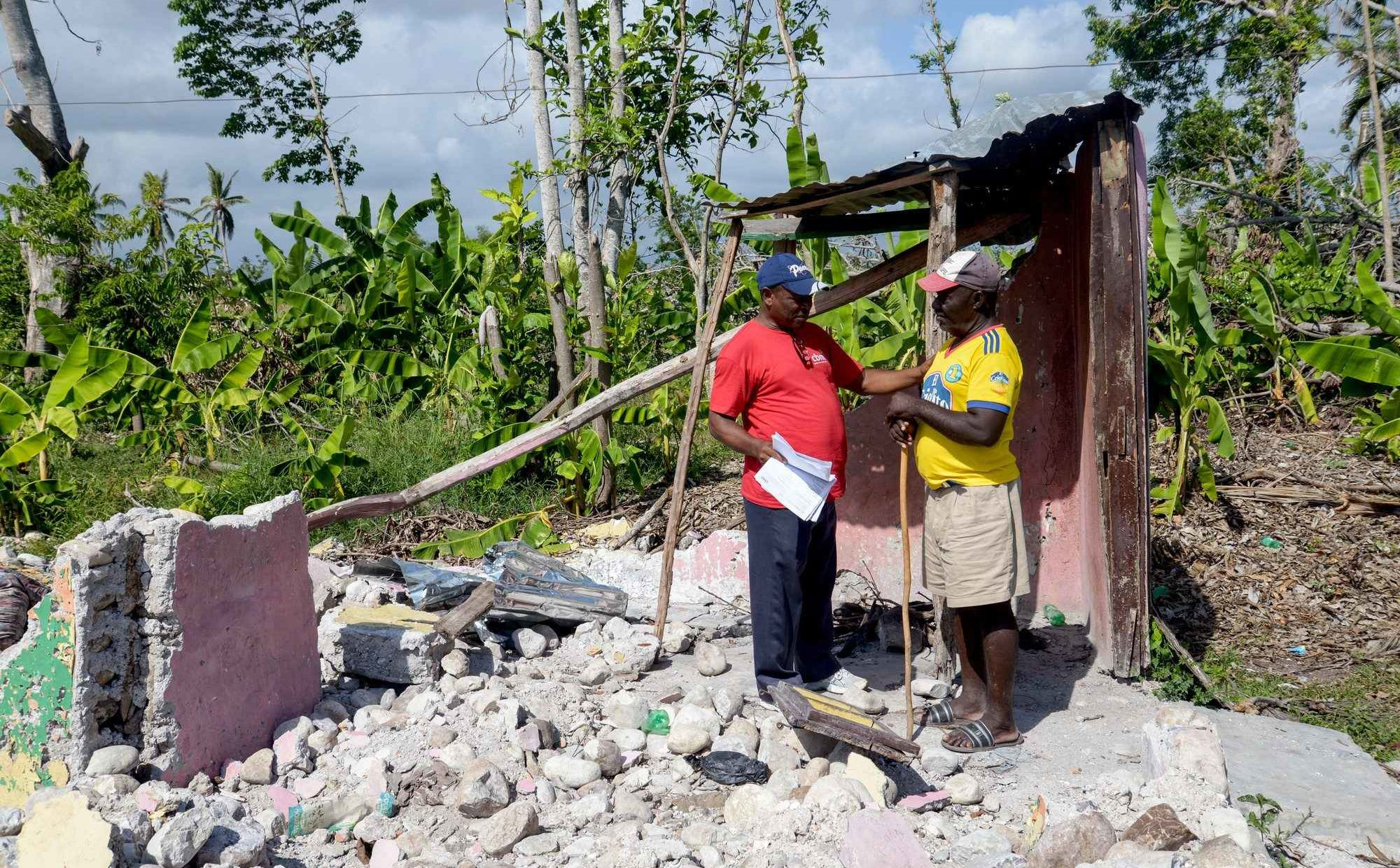Homer revisits the ruins of his home, destroyed in Hurricane Matthew in October 2016. Homer is blind and was receiving support from CBM to rebuild his life after losing his home and all his belongings.