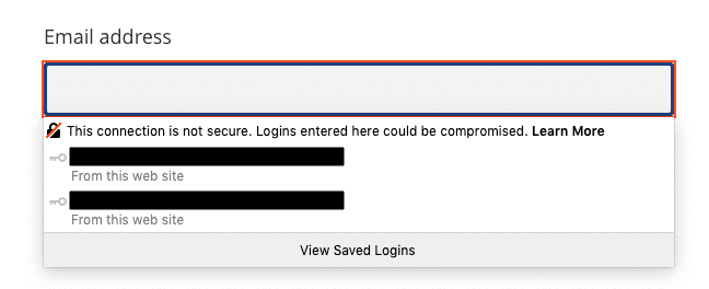 An example of a security warning that Firefox displays when trying to submit an insecure form (via HTTP).