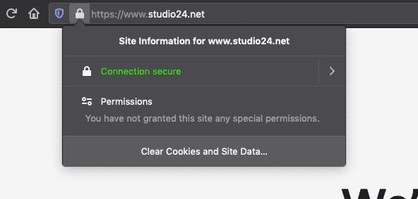 A screenshot showing confirmation that a website runs over HTTPS in Firefox.