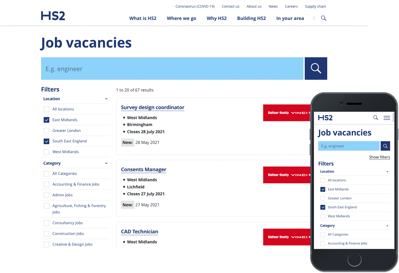 HS2 Job Brokerage website, displayed on a laptop.