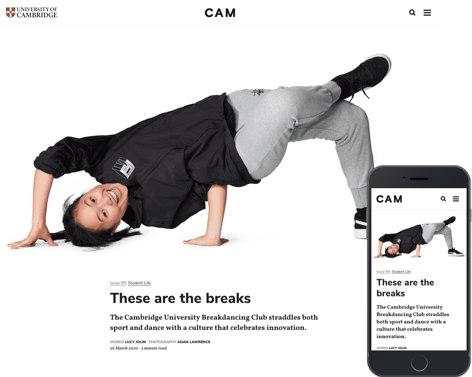 An article from CAM Digital about break dancing with a central image of a happy break dancer.