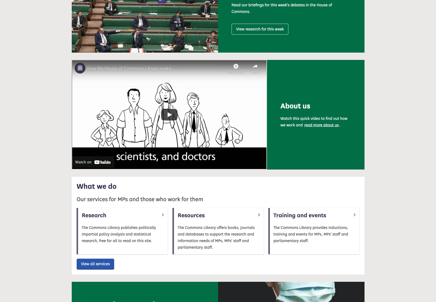 The House of Commons Library website homepage